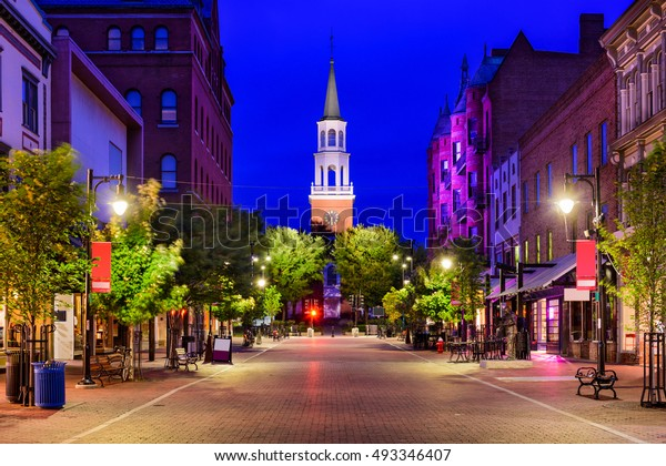 Burlington, Vermont, USA cityscape at Church Street Marketplace.