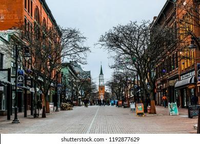 Burlington, Vermont / USA - February 2016: Church street in Burlington