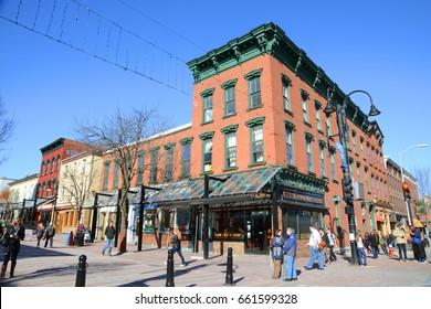 BURLINGTON, VT, USA - APR 6, 2013: Church Street Marketplace in the historic district of Burlington, Vermont, USA.