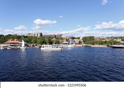 BURLINGTON, VT, USA - JUNE 25: A view of the waterfront area in downtown Burlington, Vermont on June 25, 2018. Burlington is the largest city in the US state of Vermont.