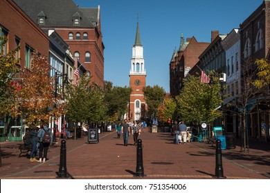 BURLINGTON, VT, USA - OCT 21, 2017: Church Street Marketplace is the main attraction for tourists in Burlington city. With a variety of shops and restaurants.