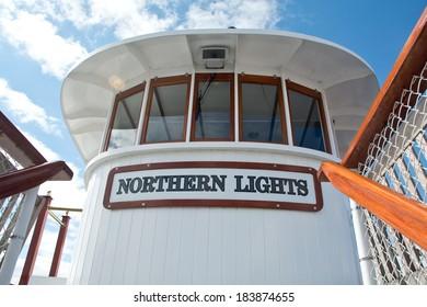 Burlington, VT, USA - September 28, 2013: Windows from the pilot house of the ship Northern Lights provide panoramic views over Lake Champlain.