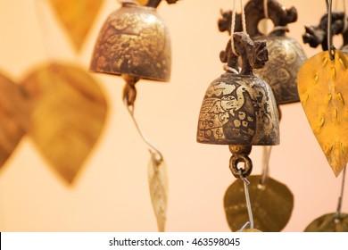 Burmese temple bells sway gently in the wind, Temple Bagan Myanmar (Burma)