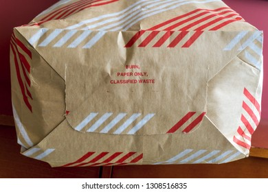 A burn bag for disposal of classified government documents