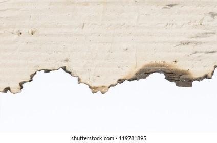 Burn edge of paper on white background