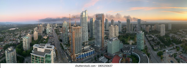 Burnaby, BC, Canada - August 29, 2020 : A fire broke out in a recycling plant in Richmond, BC near Knox Way