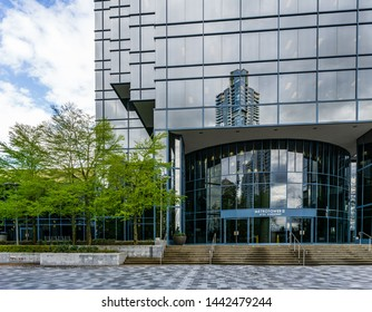 BURNABY, CANADA - APRIL 3, 2019: business offcie skyscrapers of Metropolis at Metrotown.