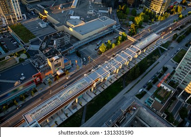 Burnaby, Greater Vancouver, BC, Canada -  July 12, 2018: Aerial view from above of Metrotown Skytrain Station.