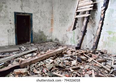 burned abandoned ruins