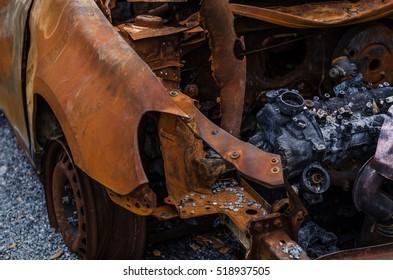 Burned car, burned-out car body