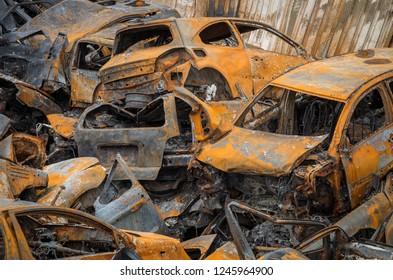 Burned car wrecks