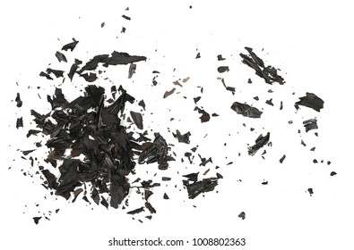 Burned, charred paper isolated on white background, top view