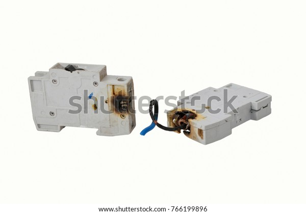 burned electrical circuit breaker, fuse box on white background  the burned  cable