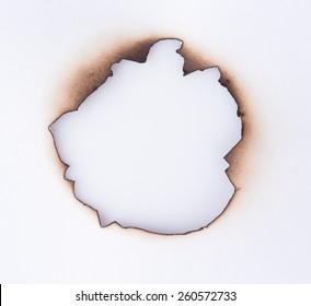 Burned hole on a white background