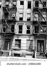 A burned out apartment building in Harlem New York City ca 1946