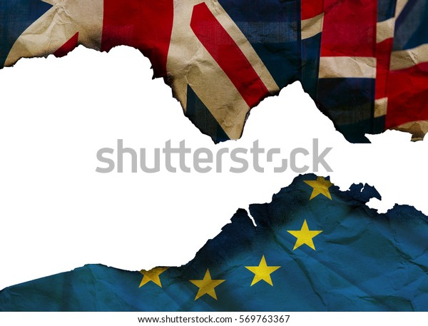 Burned paper Flags of the United Kingdom and the European Union - BREXIT. High resolution picture.