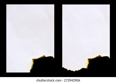 Burned paper isolated on a black  background