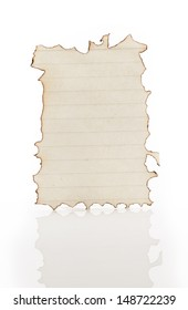 Burned paper isolated on a white background
