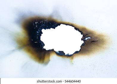 Burned white paper