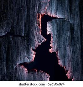 Burned wood texture, burning edges. macro.