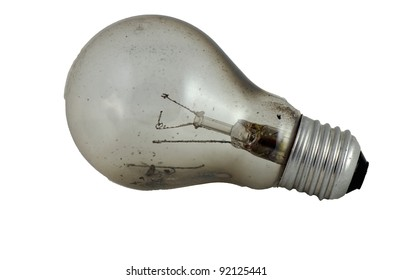 burned-out bulb with a spiral on a white background