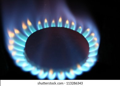 Burner flame of natural gas