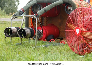 burner of a hot air balloon. Preparation of the balloon for flight