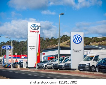Burnie, TAS/Australia-June 17th 2018: Car dealerships of different brands in town.