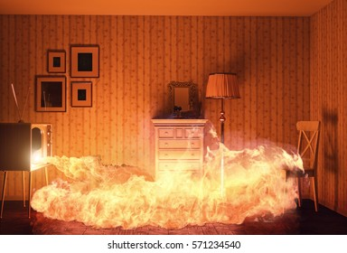burnig room from fire in tv. 3d creative concept