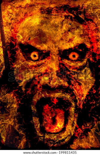 Burning Abstract Image Angel Death Termination Stock Photo