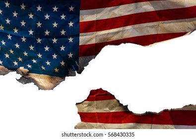 Burning American flag on the white background, texture