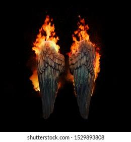 Burning angel wings, dark atmospheric mood, fantasy background