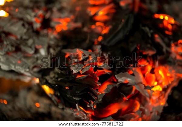 Burning Ashes Burning Paper Fire Fireplace Stock Photo Edit