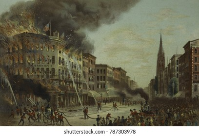 Burning of BARNUMS AMERICAN MUSEUM, July 13th, 1865, at Broadway & Anne St., NYC. It was a spectacular fire with escaping wild animals. Barnum rebuilt, only to have that museum again destroyed by fire
