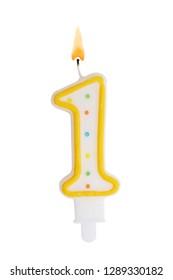 Burning birthday candle isolated on white background, number 1