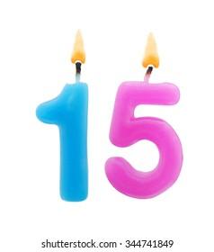 Burning Birthday Candles Isolated On White Background Number 15