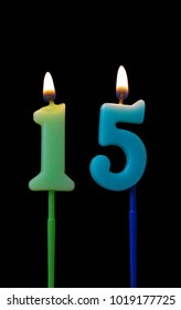 Burning Birthday Candles On Black Background Number 15