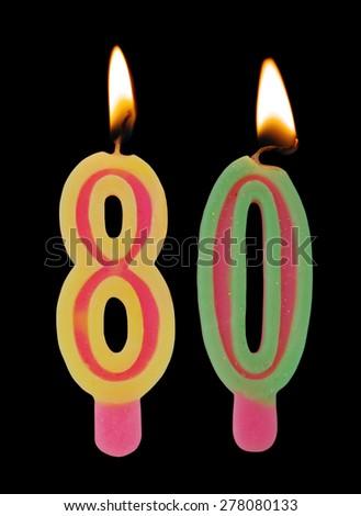 Burning Birthday Candles On Black Background Number 80