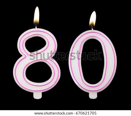 Burning Birthday Candles On Black Background Number 80