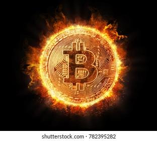Burning bitcoin isolated on black background