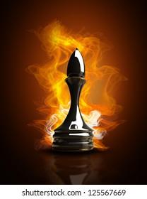 Burning black chess officer in Fire. high resolution 3d illustration