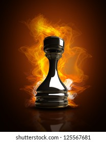Burning black chess rook in Fire. high resolution 3d illustration