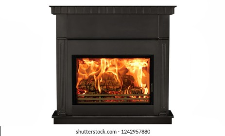 Burning black fireplace isolated on white background.