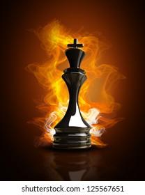 Burning black King in Fire. high resolution 3d illustration