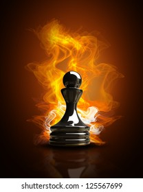 Burning black Pawn in Fire. high resolution 3d illustration