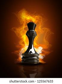 Burning black Queen in Fire. high resolution 3d illustration