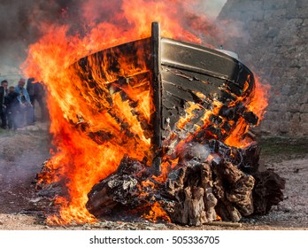 A burning boat for the traditional celebration of St. Nicholas on the island of Vis in Croatia