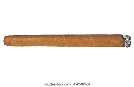 Burning brown cigar isolated on a white background