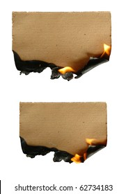 burning brown paper isolated