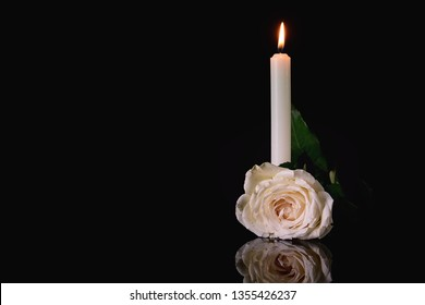 Burning candle and flower on black background